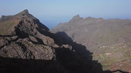 Flight over of famous Masca Canyon and mountain village on Tenerife island, Canary Islands, Spain