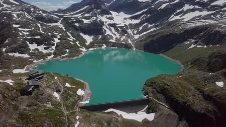 Flight over Weissee Glacier lake in Uttendorf, Salzburger Land, Austria.