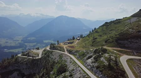 Flight over of Loser Panoramic Road Altaussee in Salzkammergut, Austria.