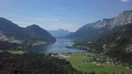 Flight over of Grundlsee lake in Salzkammergut, Styria, Austria