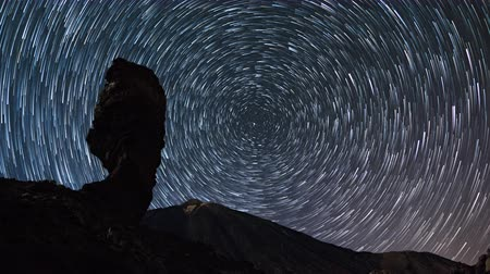 astro : Time lapse of star trails moving over Teide volcano and Los Roques de Garcia rocks, Teide National Park, Tenerife, Canary islands, Spain.