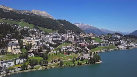 svájc : Aerial panorama of St. Moritz (Sankt Moritz), high Alpine resort town in the Engadine, Graubunden, Switzerland.