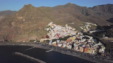 kanarya : Aerial view of San Andres village near Playa de Las Teresitas beach, Tenerife, Canary islands, Spain. Stok Video