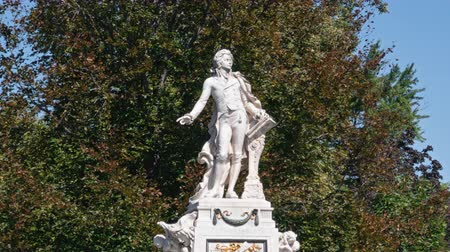 mozart : Close-up hyperlapse of Mozart Monument (Mozart-Denkmal) in the Burggarten, Vienna, Austria.