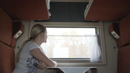 rekesz : Teen girl sitting in compartment car of train in summer, traveling. The girl in the train in the compartment.