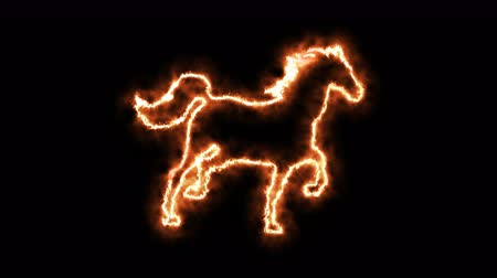 contornos : Fire horse animated in PNG format with ALPHA transparency channel