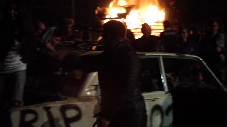 unrest : The Riots In The City, Fire. People Break The Car