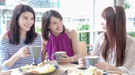 bestie : happy women friends sitting and chatting in restaurant