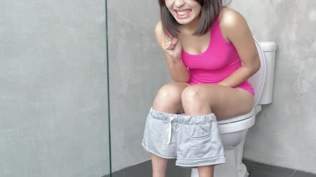 toilets : woman feel pain with constipation in wc