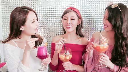 bestie : happy woman friends chatting and smile in restaurant