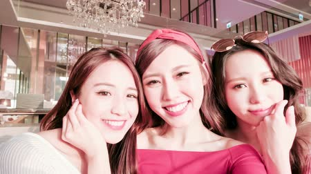 smile : beauty women selfie and dine in restaurant