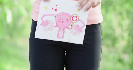 карикатура : woman take uterus billboard with health concept with green background Стоковые видеозаписи