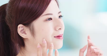 human face : beauty skin care woman in the bathroom