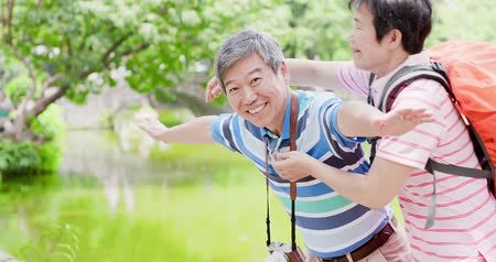 aposentar : old couple smile happily and go travel in the prark