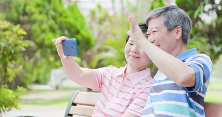 aposentar : old couple selfie happily in the park