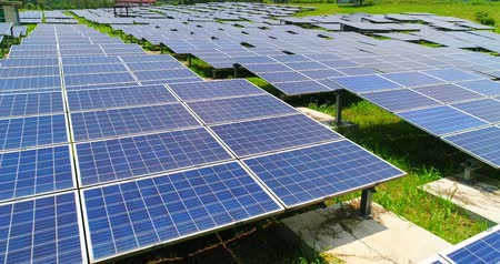 economics : aerial shot of solar panels in the taipei Stock Footage
