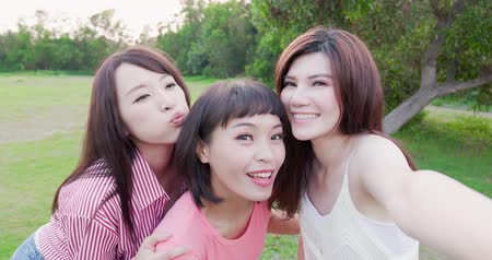 bestie : people selfie happily in the outdoor and go travel