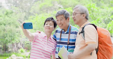 aposentar : old people selfie happily at the park Stock Footage