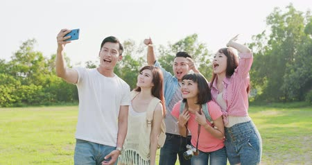 photograph : people selfie happily in the outdoor Stock Footage