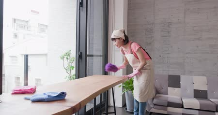 housekeeper : housewife cleans table in the home