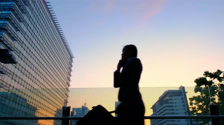 megvilágított : silhouette of business woman get off work and speaks on the phone Stock mozgókép