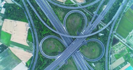 пересечение : aerial view of turbine road highway interchange in tainan