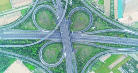 tainan : aerial view of turbine road highway interchange in tainan
