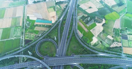 travel footage : aerial view of turbine road highway interchange in tainan
