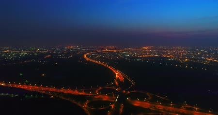 tainan : aerial view of highway interchange in tainan at night