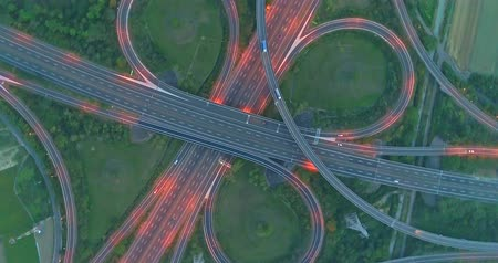 dusk : aerial view of highway interchange in tainan at night