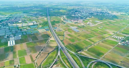 tainan : aerial view of turbine road highway interchange in taiwan