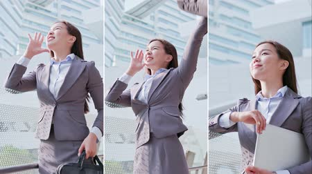 lányok : Vertical Videos - business woman take briefcase and feel excited Stock mozgókép