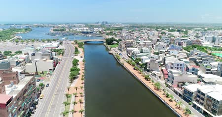 tainan : tainan, taiwan - june 25, 2018: aerial shot of tainan Canal Stock Footage