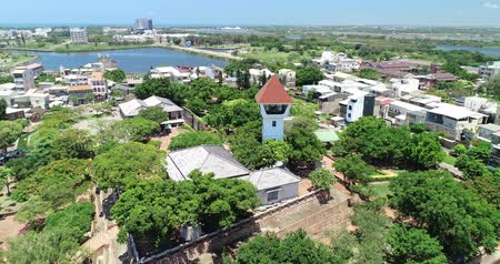 tainan : tainan, taiwan - june 25, 2018: aerial shot of Anping Fort Stock Footage