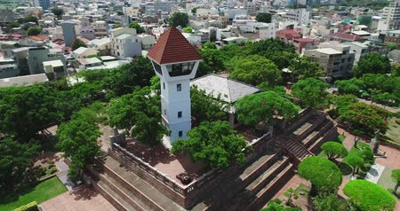 moscas : tainan, taiwan - june 26, 2018: aerial shot of Anping Fort