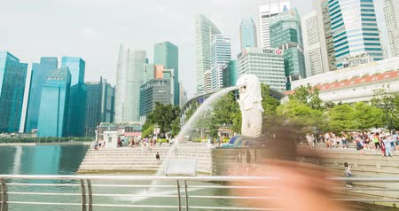 central business district : merlion park, Singapore - July 25, 2018: Timelapse view showing skyline waterfront