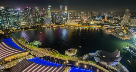 water show : Marina Bay, Singapore - July 25, 2018: Timelapse view of Marina Bay at night Stock Footage
