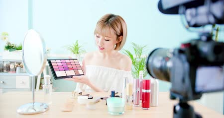 diary : woman show makeup palette in live at home Stock Footage