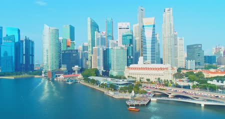 szingapúr : central business district, Singapore - July 25, 2018: aerial view showing at CBD skyline waterfront