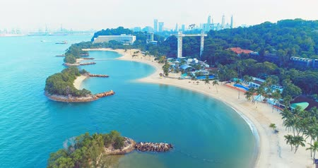 unmanned aircraft : Sentosa, Singapore - July 23, 2018: aerial view of coastline