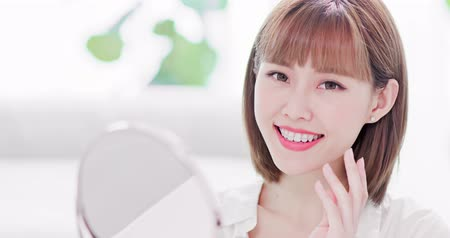 removable : Beauty woman smile to you with the brace retainer for tooth Stock Footage