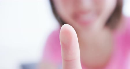 fingerprints : close up of woman scanning fingerprint on screen and unlock mobile phone Stock Footage