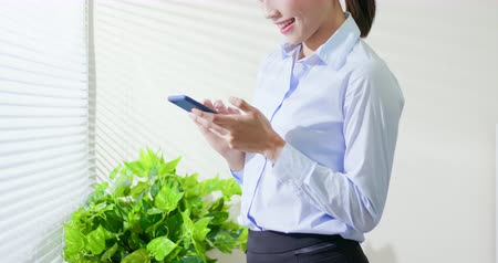 secretário : asian business woman use smart phone at office Vídeos