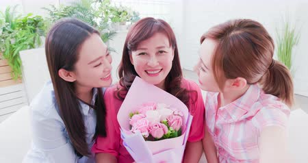 livingroom : Daughters and mom celebrate mother day and take selfie together happily Stock Footage
