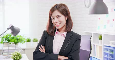 Çapraz kollar : businesswoman smile with cross hands in the office Stok Video