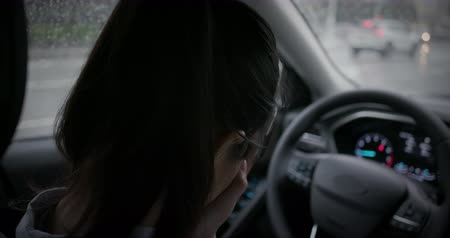 crush : asian woman feel tired and depressed in the car