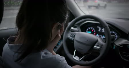 to be alone : asian woman be bullied and feel depressed in the car