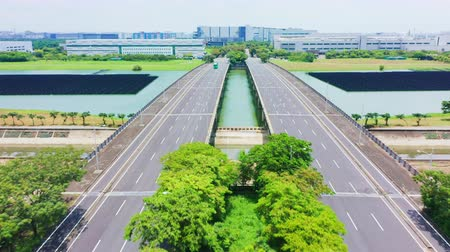 Tainan, Taiwan - July 29, 2019 : access to the Southern Science Park with solar panels shot by drone