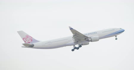 Kaohsiung,Taiwan - October 30,2018 : Airplane of CHINA-AIRLINES take off and fly into sky