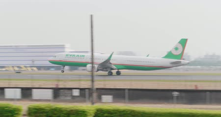 Kaohsiung, Taiwan - October 30, 2018 : Airplane of EVA AIR take off and fly into sky
